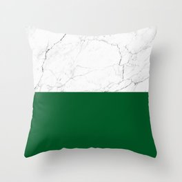 emerald green and white marble Throw Pillow