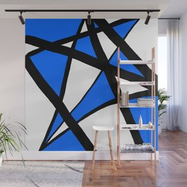 China Blue Geometric Triangle Abstract Wall Mural
