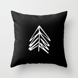 Pacific Northwest Evergreen | In Black Throw Pillow