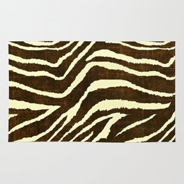 Animal Print Zebra in Winter Brown and Beige Rug