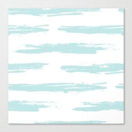 Swipe Stripe Succulent Blue and White Canvas Print