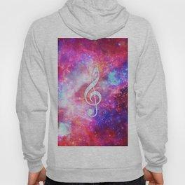 Galaxy Nebula Glitter Music Note Pink Space Hoody