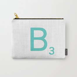 Custom Blue Scrabble Letter B Carry-All Pouch