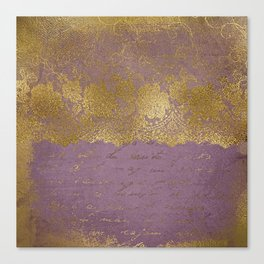 Romantic Bridal lace - Gold floral elegant lace on old purple paper Canvas Print