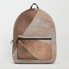 Copper Foil and Blush Rose Gold Marble Triangles Backpack