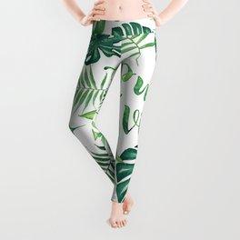 Tropical Pura Vida Palm Leaves and Monstera Watercolor Leggings