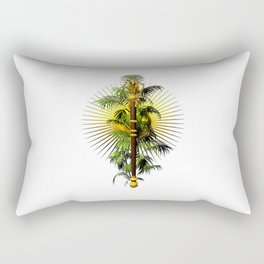 growing power, royal scepter with palm tree in front of aureole Rectangular Pillow