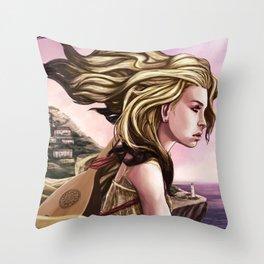 Meeka overlooking Sea Sky Throw Pillow