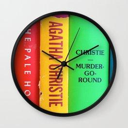 Rainbow Agatha Murder Books Wall Clock