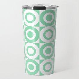 Mid Century Square and Circle Pattern 541 Mint Green Travel Mug