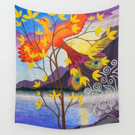 Phoenix Rising to New Life Wall Tapestry