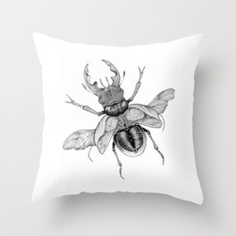 Dotwork Flying Beetle Illustration Throw Pillow