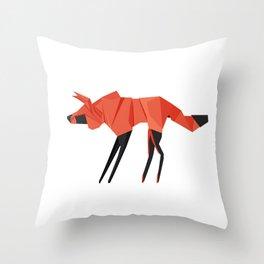 Origami Hyena Throw Pillow