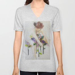 Among the Flowers Unisex V-Neck