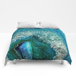 Aqua turquoise agate mineral gem stone - Beautiful Backdrop Comforters