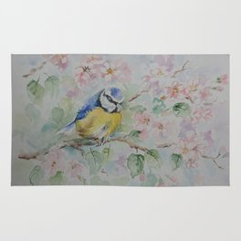 BLUE TIT Spring blossom and the little bird Wildlife watercolor painting Rug