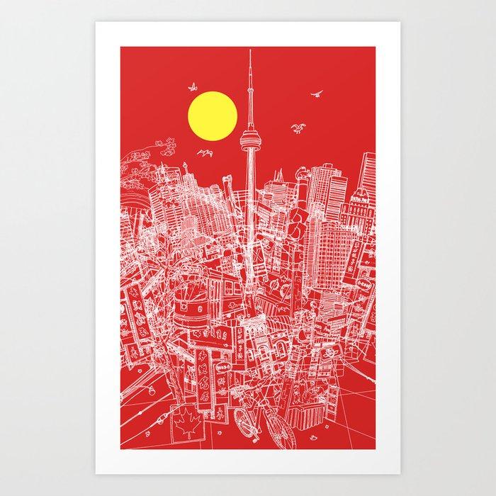 Toronto! Red (Version #2) Art Print