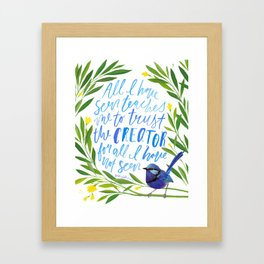 All I Have Seen - Ralph Waldo Emerson Quote Framed Art Print