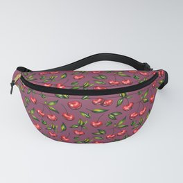 Watercolor cherry pattern on purple background Fanny Pack