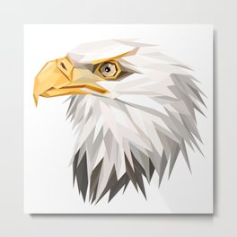 Triangular Geometric American Bald Eagle Head Metal Print