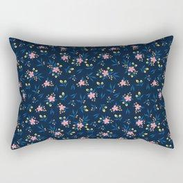 Pink Florals on Blue Rectangular Pillow