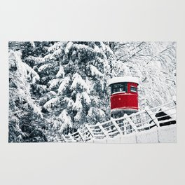 snowfall in the italian alps Rug