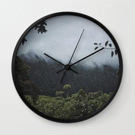 Foggy Oahu Green Wall Clock