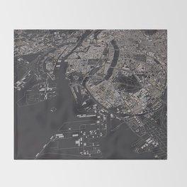 Copenhagen city map Throw Blanket
