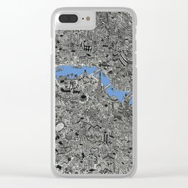 Map of London Thames Drawing Clear iPhone Case