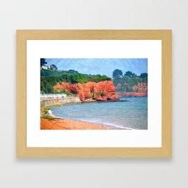 Red Cliffs at Preston Sands, Torbay, England Framed Art Print
