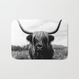 Scottish Highland Cattle Black and White Animal Badematte