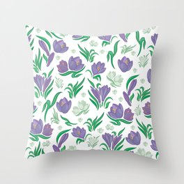 Crocus background Throw Pillow