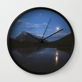 Full Moon Over Vermillion Lakes | Banff National Park, Alberta, Canada | John Hill Photography Wall Clock