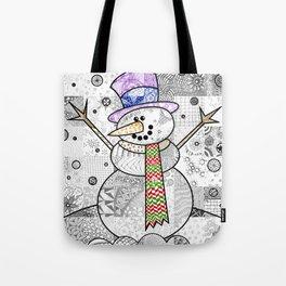 Coloured Snowman Tote Bag