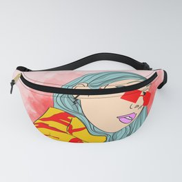 CUZ IM KOOL LIKE DAT - Cool Asian Female with Blue Hair Digital Drawing Fanny Pack