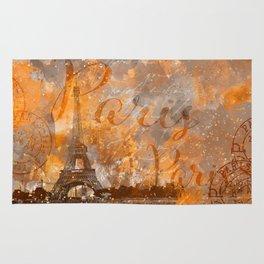 Paris Eifel Tower orange mixed media art Rug
