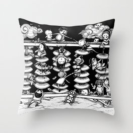 Monochrome surrealistic Illustration:Calculation/Abacus Throw Pillow