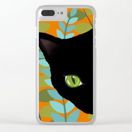 Black Kitty Cat In The Garden Clear iPhone Case