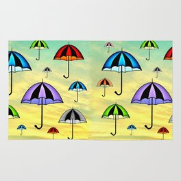 Colorful umbrellas flying in the sky Rug