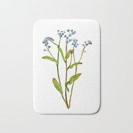 Forget-me-not flowers watercolor art Bath Mat