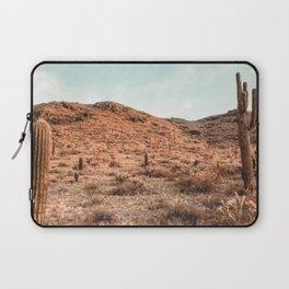 Saguaro Mountain // Vintage Desert Landscape Cactus Photography Teal Blue Sky Southwestern Style Laptop Sleeve