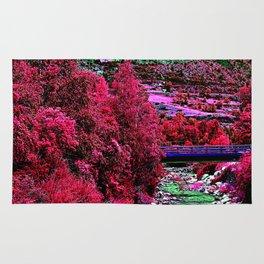 Alien landscape indigo red surrealist night in the mountain Rug