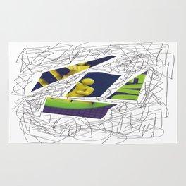 Collage green violet doodle Rug