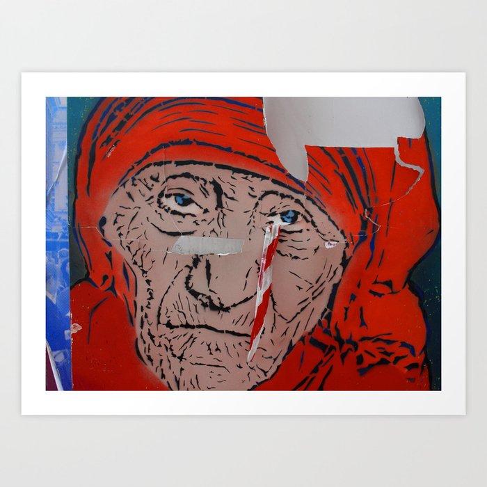 Mother Teresa crying a warning Art Print
