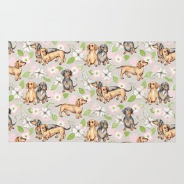 Dachshunds and dogwood blossoms Rug