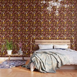Astronauts in Space with Florals - Maroon Wallpaper