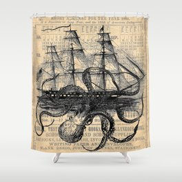Octopus Kraken Attacking Ship Antique Almanac Paper Shower Curtain