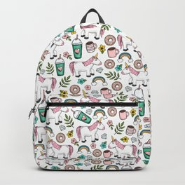 Unicorns and Rainbows, Frappuccino, Donuts, Flowers, Pink Unicorn, Girls Print, Girls' Decor Backpack