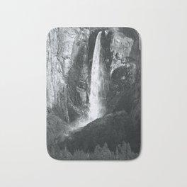 Bridalveil Falls. Yosemite California in Black and White Bath Mat
