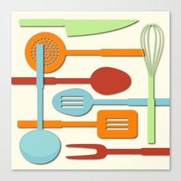 Kitchen Colored Utensil Silhouettes on Cream III Canvas Print